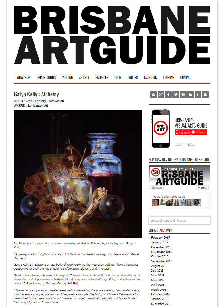 Brisbane Art Guide Gatya Kelly Alchemy Feb 2017